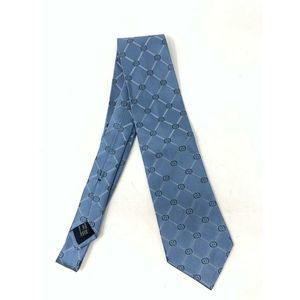 Gucci Tie Blue Green Diamond Logo 100% Silk